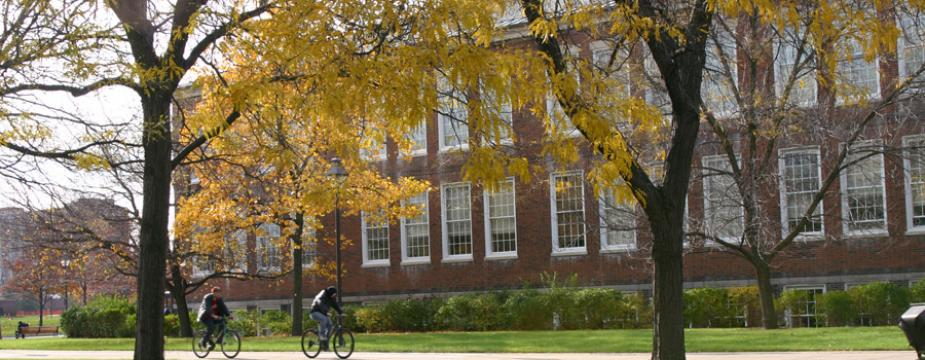 Bikes riders in front of Rockwell Hall